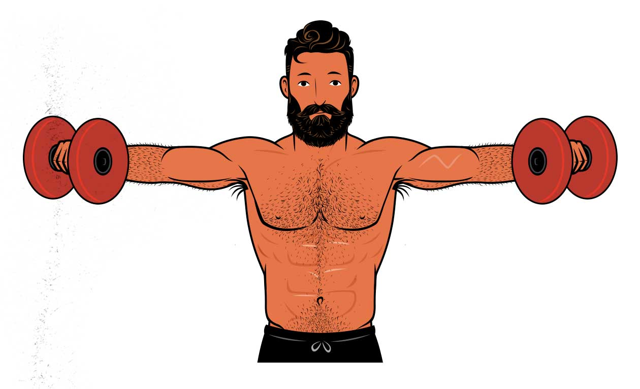 Illustration of a bodybuilder doing the lateral raise to work out his shoulders.