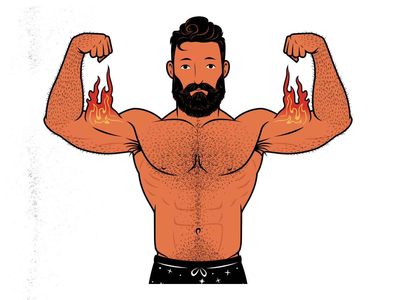 Illustration showing the muscle-building results from hypertrophy training.