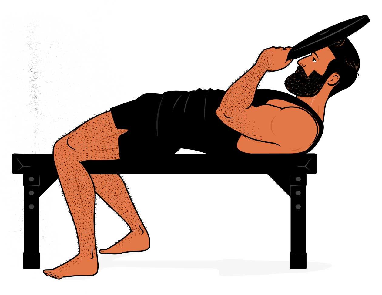 Ilustración de un hombre haciendo un curl de cuello para aumentar el tamaño de su cuello.