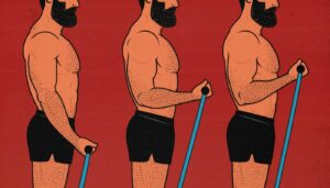 Illustration of a bodybuilder training with the X3 Bar by Dr John Jaquish to build muscle mass.