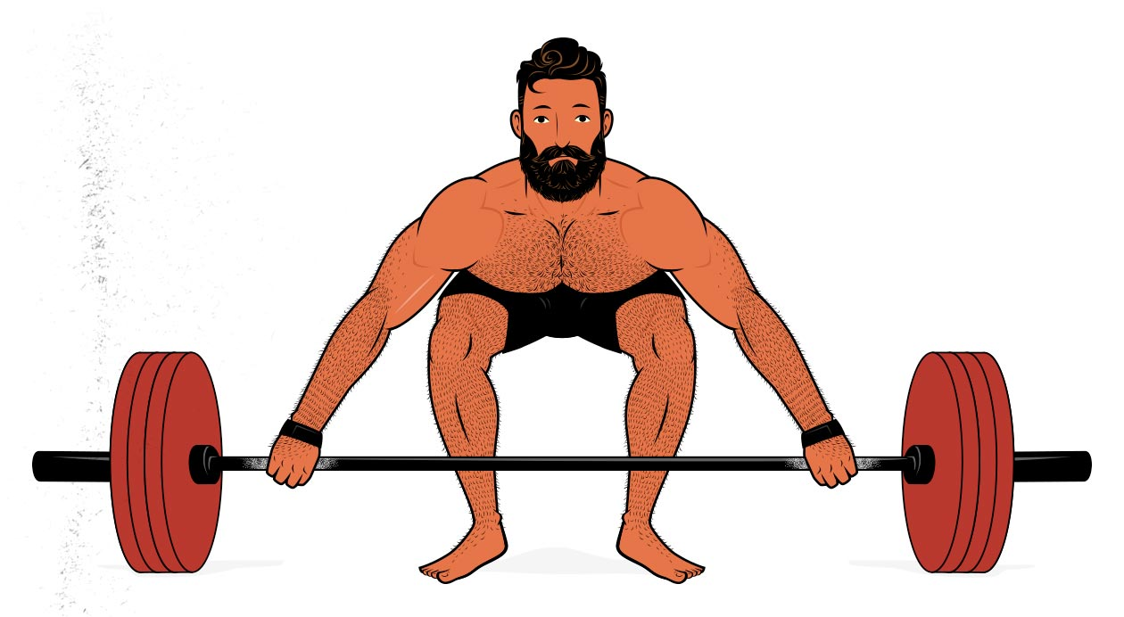 Illustration of a man doing snatch-grip deadlifts with lifting straps.