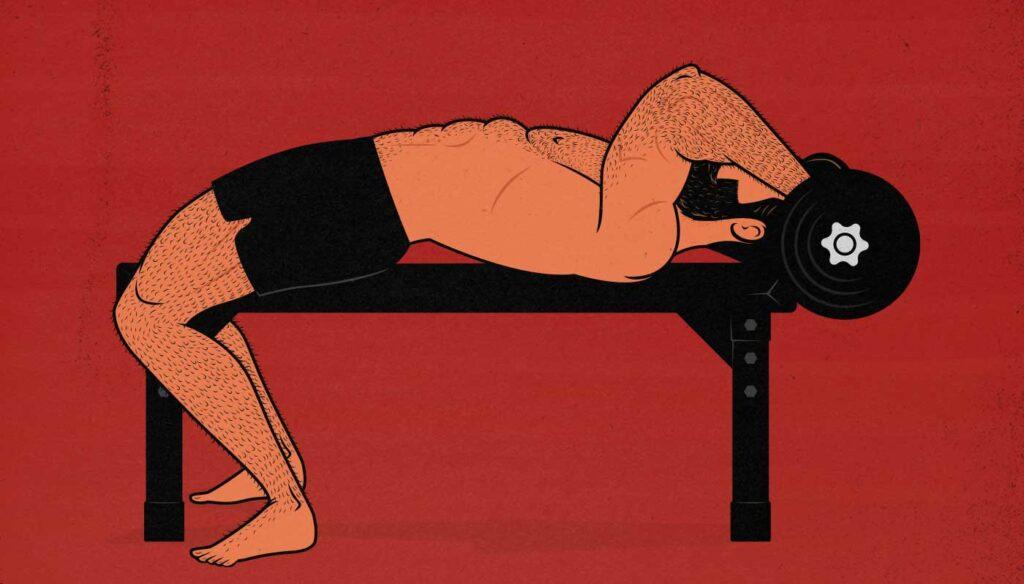 Illustration of a man doing skull crushers.