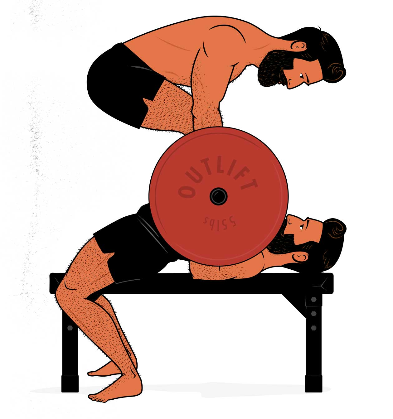 Illustration of a bodybuilder doing a bench press and barbell row superset to gain muscle mass.
