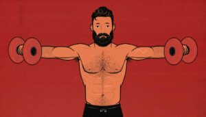 Illustration of a bodybuilder working out his shoulders with the lateral raise exercise.