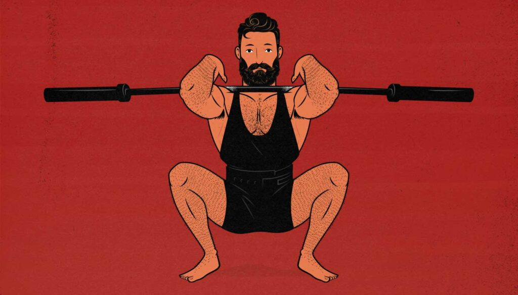 Illustration of a bodybuilder doing some light warm-up sets before doing his heavier weight training.