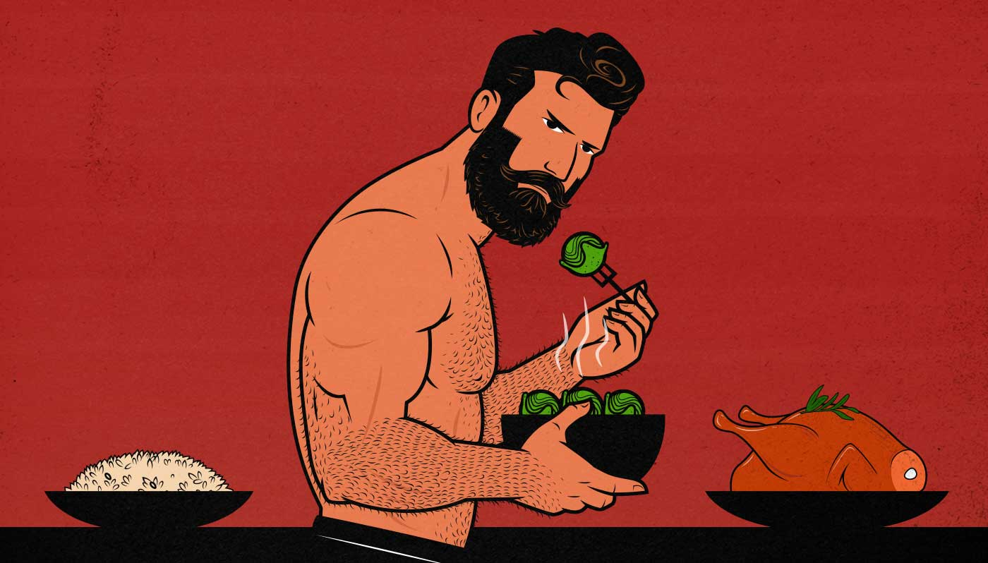 Illustration of a bodybuilder eating a bizarre bulking diet to build muscle.