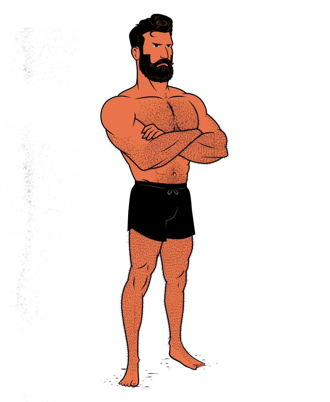 Illustration showing a bodybuilder who's lean and muscular, hovering around his natural body fat percentage.