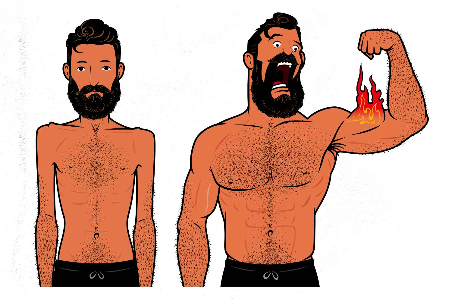 Outlift illustration of a skinny guy gaining muscle mass.