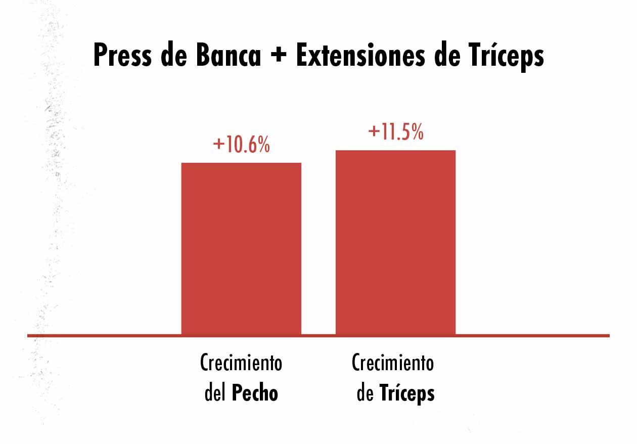 Gráfica del crecimiento del pecho y de los tríceps al hacer el press de banca con extensiones de tríceps.