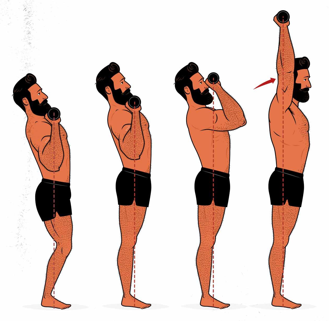 Ilustración de un hombre haciendo un push press o press de hombro con impulso.