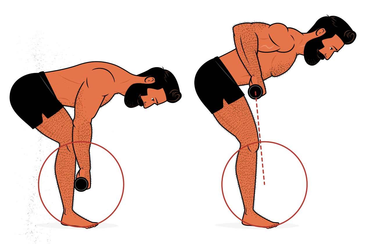 Ilustración de un hombre haciendo un remo de potencia.