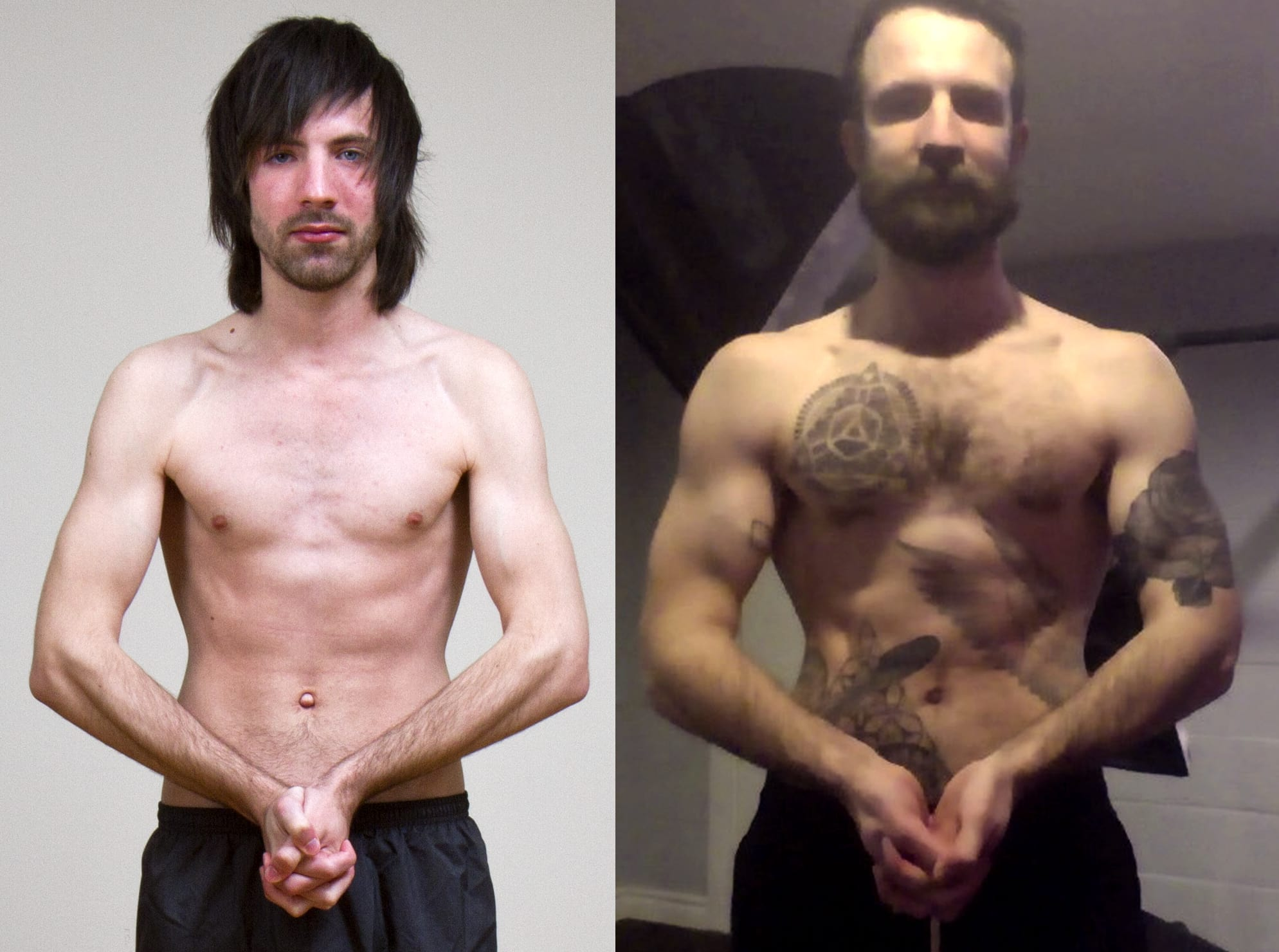 Before and after photo showing a skinny guy gaining muscle mass.