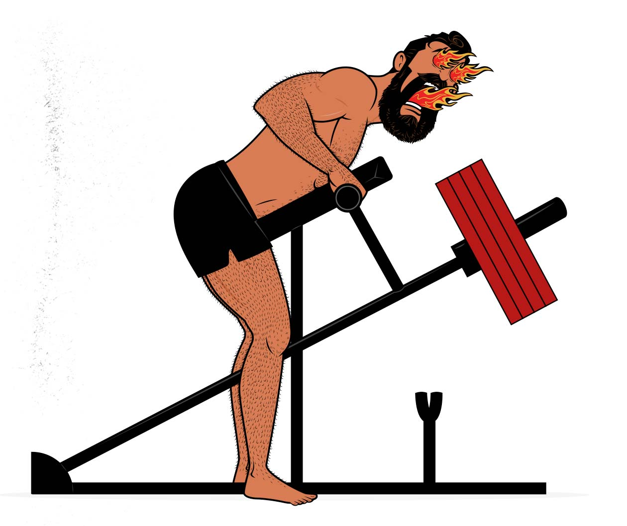 Illustration of a bodybuilder doing high-intensity training (HIT) to build muscle.