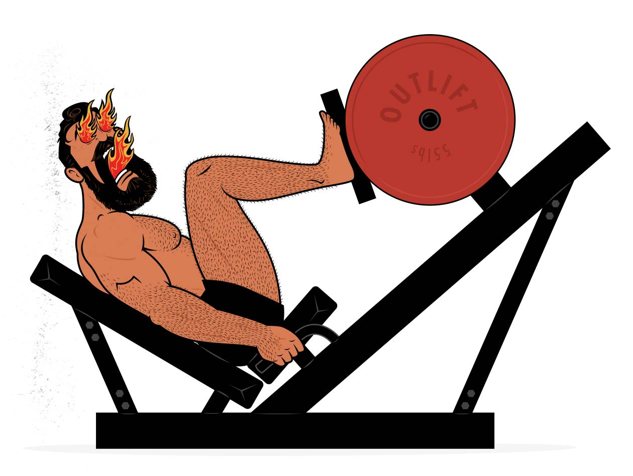 Illustration of a bodybuilder doing high-intensity training (HIT) leg pressing to build muscle.