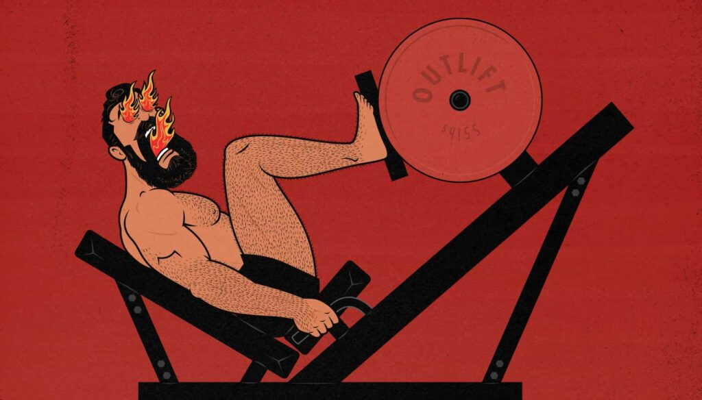 Illustration of a bodybuilder doing High-Intensity Training (HIT) on the leg press exercise machine to gain muscle size and strength.