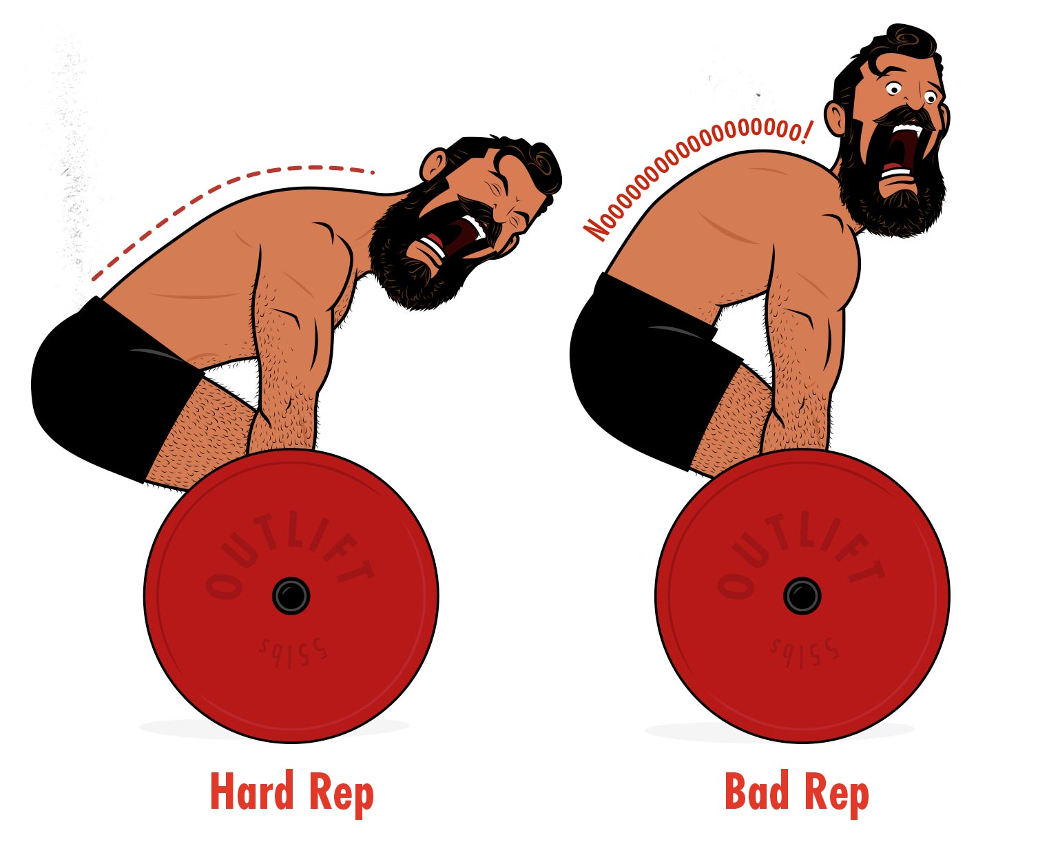 Outlift illustration showing a man deadlifting with a rounded back.