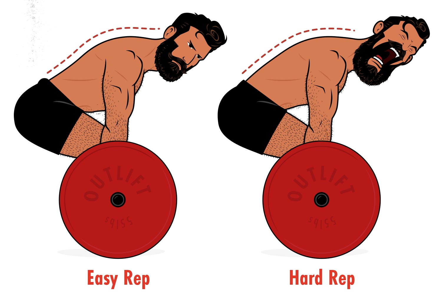 Illustration of a bodybuilder deadlifting with good technique.