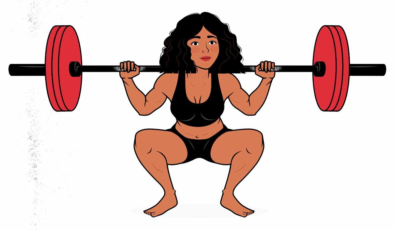 Illustration of a woman progressively overloading the high-bar barbell back squat.
