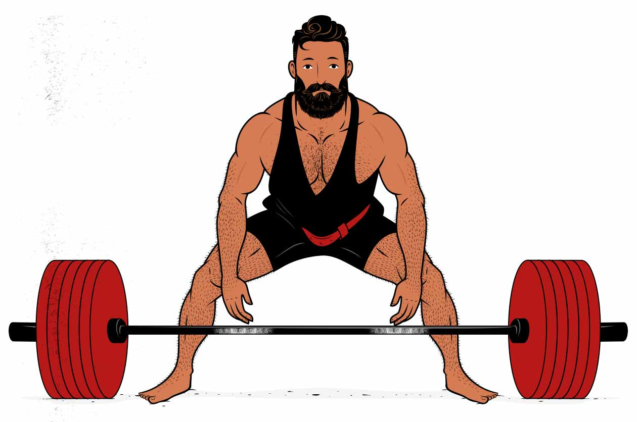 Outlift illustration of a bodybuilder progressively overloading the deadlift to gain muscle size and strength.