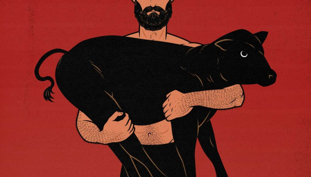 Illustration of a man lifting a calf to progressively overload his growing muscles.