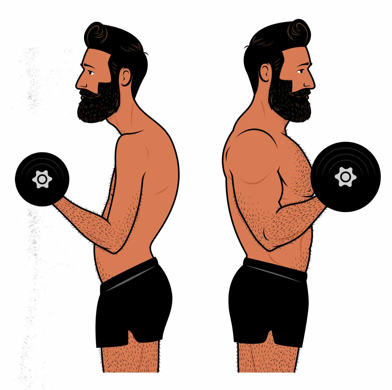 Illustration of a man using progressively heavier weights to become bigger, stronger, and more muscular.