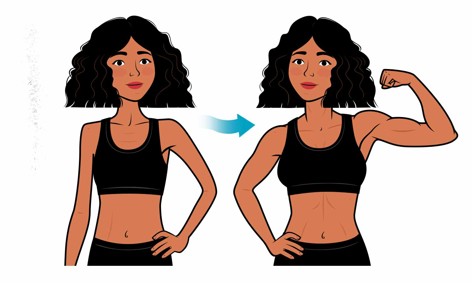 Illustration of a woman building muscle and gaining weight despite her fast metabolism.