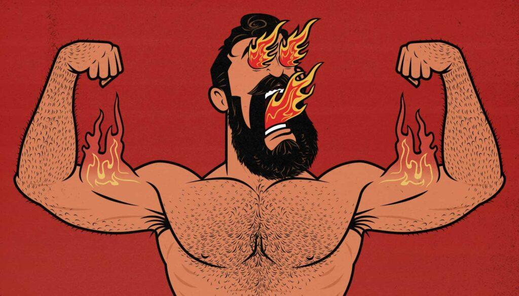 Illustration of a bodybuilder doing giant sets.